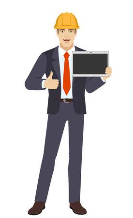 Homme d'affaires en casque de construction montrant une tablette numérique vierge et montrant le pouce. Portrait de pleine longueur de personnage d'homme d'affaires dans un style plat. Illustration vectorielle. Vecteurs