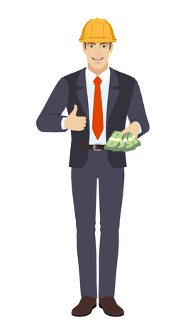 Businessman in construction helmet with cash mone showing thumb up. Full length portrait of businessman character in a flat style. Vector illustration.