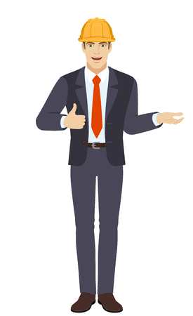 Businessman in construction helmet gesticulating and showing thumb up. Full length portrait of businessman character in a flat style. Vector illustration.
