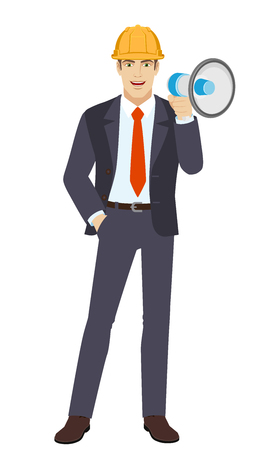 Businessman in construction helmet with loudspeaker and with hand in pocket. Full length portrait of businessman character in a flat style. Vector illustration.