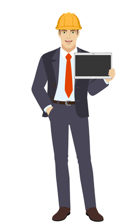 Businessman in construction helmet with hand in pocket showing blank digital tablet PC. Full length portrait of businessman character in a flat style. Vector illustration.