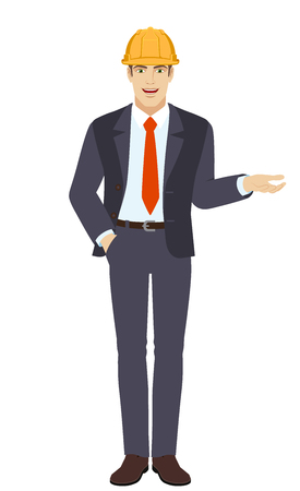 Businessman in construction helmet with hand in pocket gesticulating. Full length portrait of businessman character in a flat style. Vector illustration.
