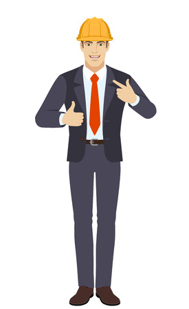 Businessman in construction helmet  showing thumb up and  pointing the finger at himself. Full length portrait of businessman character in a flat style. Vector illustration. Illustration