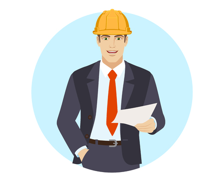 Businessman in construction helmet holding a paper. Portrait of businessman in a flat style. Vector illustration.