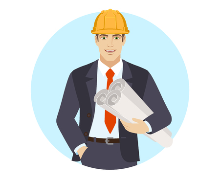 Businessman in construction helmet holding the project plans. Portrait of businessman in a flat style. Vector illustration.