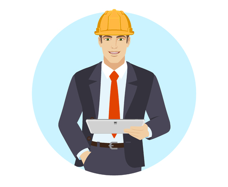 Businessman in construction helmet holding digital tablet PC. Portrait of businessman in a flat style. Vector illustration.