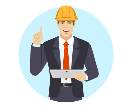 Businessman in construction helmet holding digital tablet PC and pointing up. Portrait of businessman in a flat style. Vector illustration.
