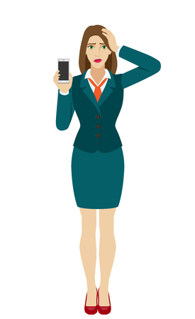 Businesswoman holding a mobile phone and grabbed his head. Full length portrait of businesswoman in a flat style. Vector illustration.