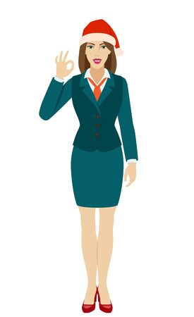 OK! Businesswoman in Santa hat  show a okay hand sign. Full length portrait of businesswoman in a flat style. Vector illustration.