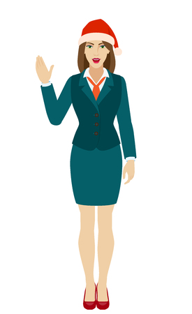 Businesswoman in Santa hat showing blank digital tablet PC. Full length portrait of businesswoman in a flat style. Vector illustration.