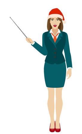 Businesswoman in Santa hat shows pointer. Full length portrait of businesswoman in a flat style. Vector illustration. Ilustração