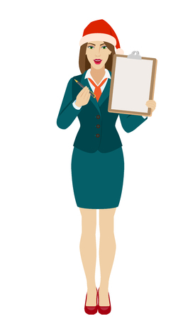 Businesswoman in Santa hat giving pen for your signature on clipboard. Full length portrait of businesswoman in a flat style. Vector illustration.