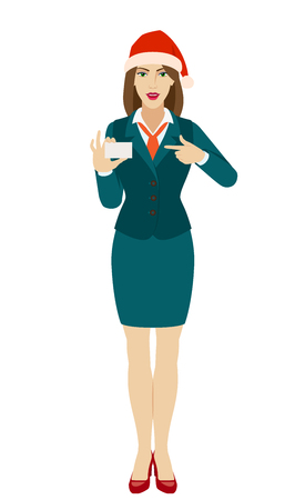 Businesswoman in Santa hat pointing on business card. Full length portrait of businesswoman in a flat style. Vector illustration. Ilustração