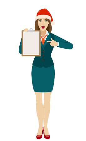 Businesswoman in Santa hat pointing on clipboard. Full length portrait of businesswoman in a flat style. Vector illustration.