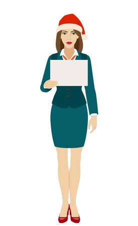 Businesswoman in Santa hat holding a paper. Full length portrait of businesswoman in a flat style. Vector illustration. Ilustração