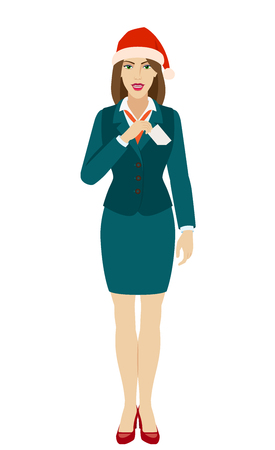 Businesswoman in Santa hat puts the business-card in his pocket. Full length portrait of businesswoman in a flat style. Vector illustration.
