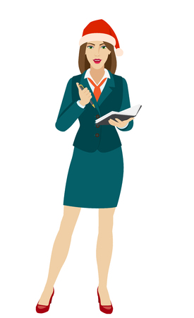 Businesswoman in Santa hat with pen and pocketbook. Full length portrait of businesswoman in a flat style. Vector illustration.