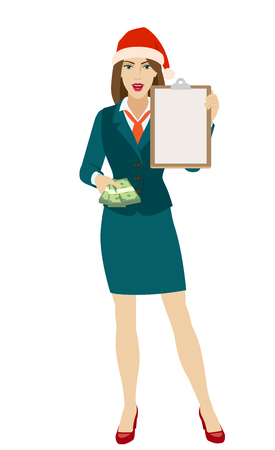 Businesswoman in Santa hat with money and clipboard. Full length portrait of businesswoman in a flat style. Vector illustration.