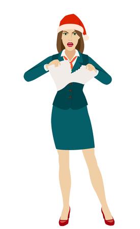 Businesswoman in Santa hat tearing paper. Full length portrait of businesswoman in a flat style. Vector illustration. Ilustração