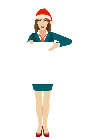 Businesswoman in Santa hat holding white blank poster and showing blank signboard. Full length portrait of businesswoman in a flat style. Vector illustration.