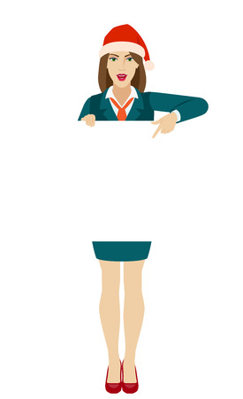 Businesswoman in Santa hat holding white blank poster and pointing at banner over white. Full length portrait of businesswoman in a flat style. Vector illustration. Ilustração