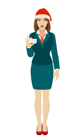 Businesswoman in Santa hat showing the business card. Full length portrait of businesswoman in a flat style. Vector illustration. Ilustração