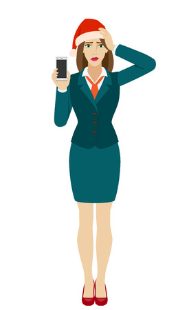 Businesswoman in Santa hat holding a mobile phone and grabbed his head. Full length portrait of businesswoman in a flat style. Vector illustration.