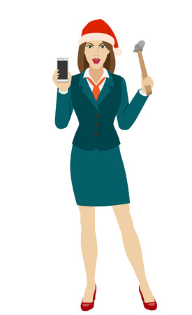 Businesswoman in Santa hat trying to break a mobile phone with a hammer. Full length portrait of businesswoman in a flat style. Vector illustration.