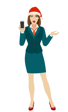 Businesswoman in Santa hat holding a mobile phone and gesturing. Full length portrait of businesswoman in a flat style. Vector illustration.