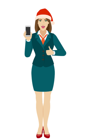 Businesswoman in Santa hat holding a mobile phone and shows thumb up. Full length portrait of businesswoman in a flat style. Vector illustration. Ilustração