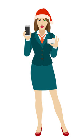 Businesswoman in Santa hat holding a mobile phone and business card. Full length portrait of businesswoman in a flat style. Vector illustration. Ilustração