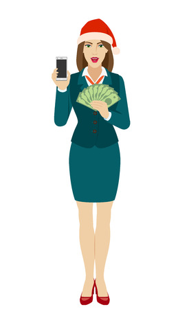 Businesswoman in Santa hat holding a mobile phone and money. Full length portrait of businesswoman in a flat style. Vector illustration.