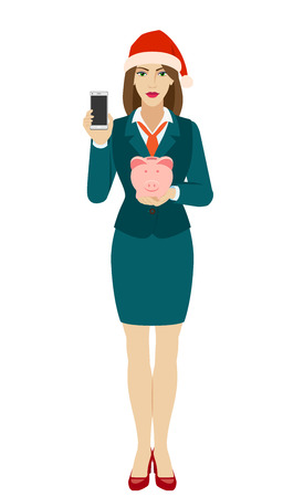 Businesswoman in Santa hat holding a mobile phone and piggy bank. Full length portrait of businesswoman in a flat style. Vector illustration.