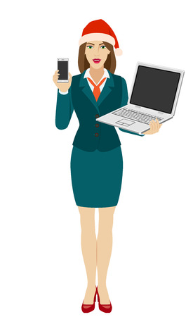 Businesswoman in Santa hat holding a mobile phone and laptop notebook. Full length portrait of businesswoman in a flat style. Vector illustration.