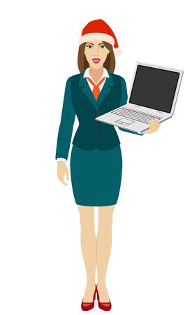 Businesswoman in Santa hat holding a laptop notebook. Full length portrait of businesswoman in a flat style. Vector illustration. Ilustração
