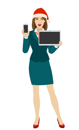 Businesswoman in Santa hat holding a mobile phone and digital tablet PC. Full length portrait of businesswoman in a flat style. Vector illustration.