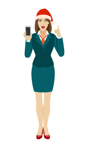 Businesswoman in Santa hat holding a mobile phone and pointing up. Full length portrait of businesswoman in a flat style. Vector illustration.