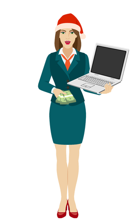 Businesswoman in Santa hat holding a laptop notebook and shows money. Full length portrait of businesswoman in a flat style. Vector illustration.