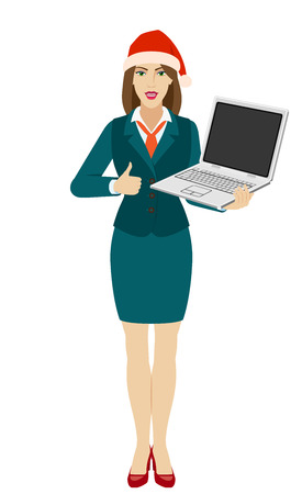 Businesswoman in Santa hat holding a laptop notebook and shows thumb up. Full length portrait of businesswoman in a flat style. Vector illustration. Illustration