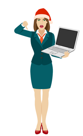 Businesswoman in Santa hat holding a laptop notebook and showing thumb down gesture as rejection symbol. Full length portrait of businesswoman in a flat style. Vector illustration.