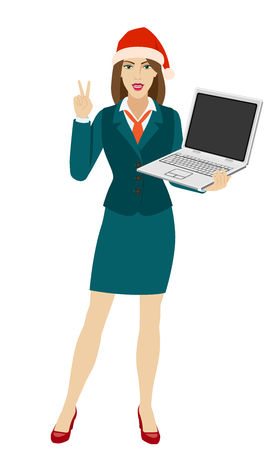 Businesswoman in Santa hat holding a laptop notebook and showing victory sign. Two finger up. Full length portrait of businesswoman in a flat style. Vector illustration.