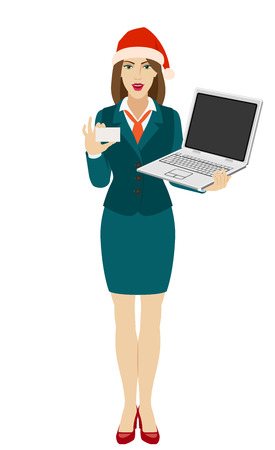 Businesswoman in Santa hat holding a laptop notebook and showing a business card. Full length portrait of businesswoman in a flat style. Vector illustration.
