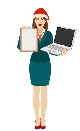 Businesswoman in Santa hat holding a laptop notebook and showing a clipboard. Full length portrait of businesswoman in a flat style. Vector illustration.