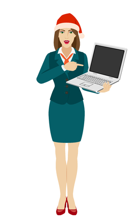 Businesswoman in Santa hat pointing at a laptop notebook. Full length portrait of businesswoman in a flat style. Vector illustration.