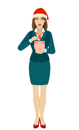 Businesswoman in Santa hat puts coin in a piggy bank. Full length portrait of businesswoman in a flat style. Vector illustration. Ilustração