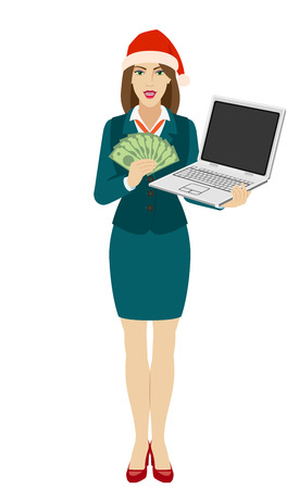 Businesswoman in Santa hat holding a laptop notebook and showing a money. Full length portrait of businesswoman in a flat style. Vector illustration. Ilustração