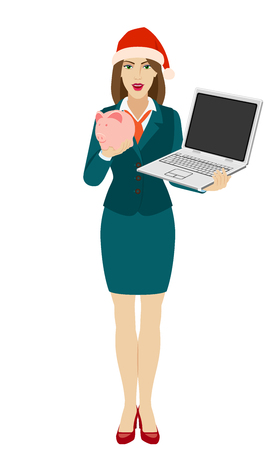 Businesswoman in Santa hat holding a laptop notebook and piggy bank. Full length portrait of businesswoman in a flat style. Vector illustration. Ilustração