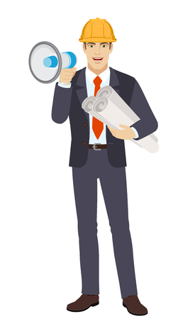 Businessman in construction helmet with loudspeaker holding the project plans