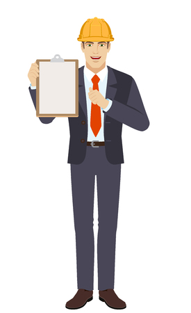 Self-promotion. Businessman in construction helmet holding the clipboard and pointing at himself Ilustração