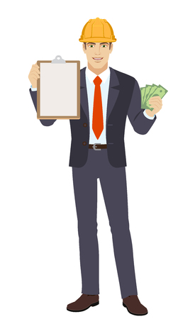 Businessman in construction helmet with money holding the clipboard